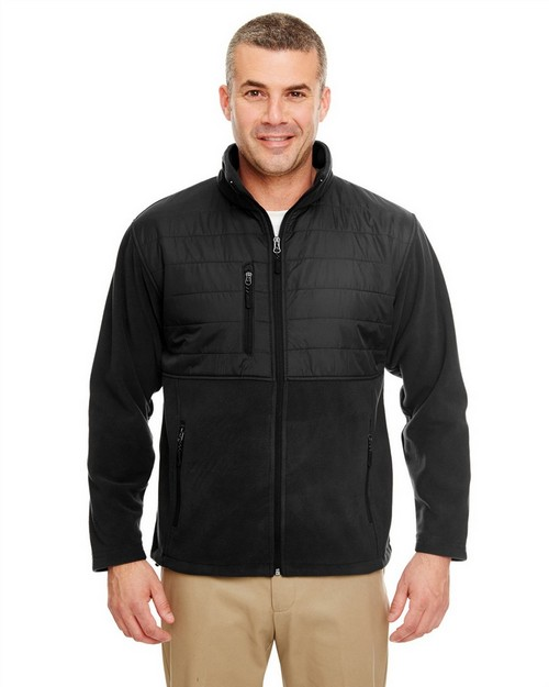 Ultraclub 8492 Adult Fleece Jacket with Quilted Yoke Overlay