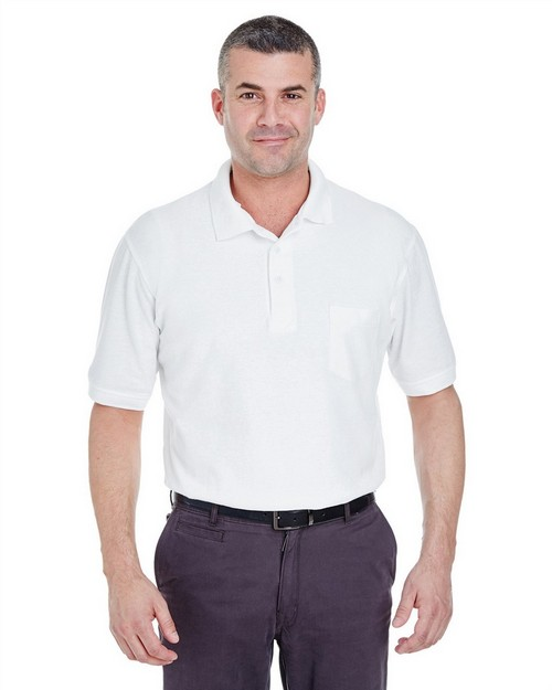 Ultraclub 8544 Adult Whisper Pocket Pique Polo